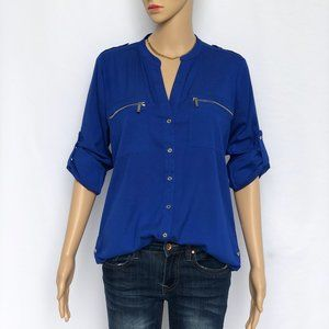 Calvin Klein Solid Blue Button Down Shirt